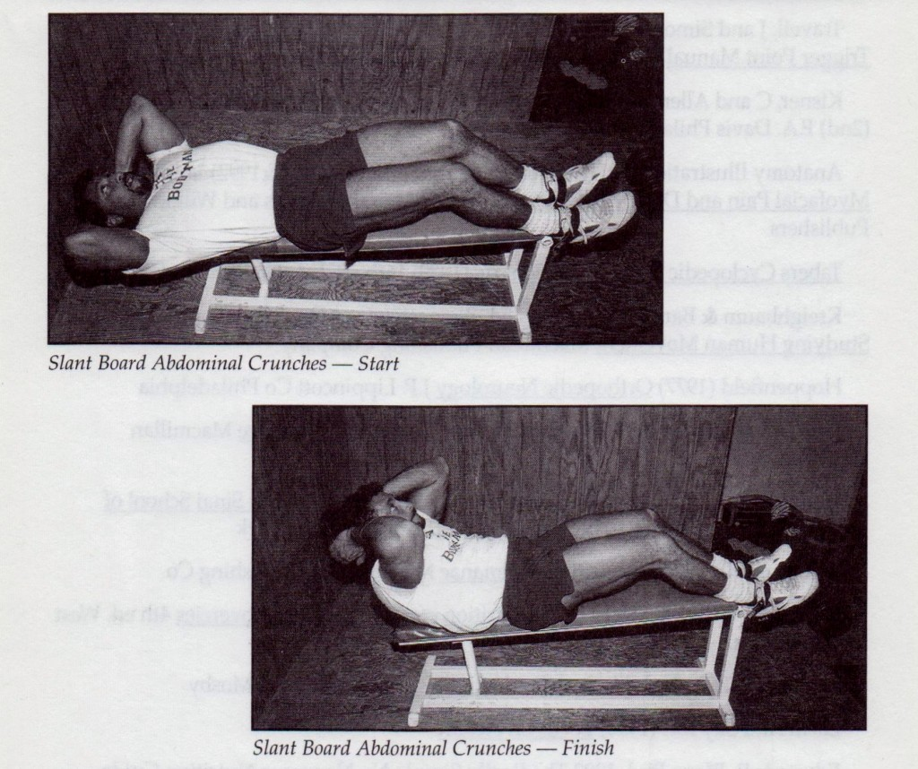 {Holding on to the end of the bench with the back of your ankles rather then the tops, engages the hamstrings and flattens the low back against the bench. This position allows for maximum abdominal contractions because it takes out the hip flexors AKA Iliopsosas and quads that pull the lumbar forward and perform the abdominal movement)